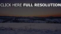 feld sonnenuntergang schnee winter