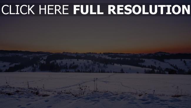 hd hintergrundbilder feld sonnenuntergang schnee winter