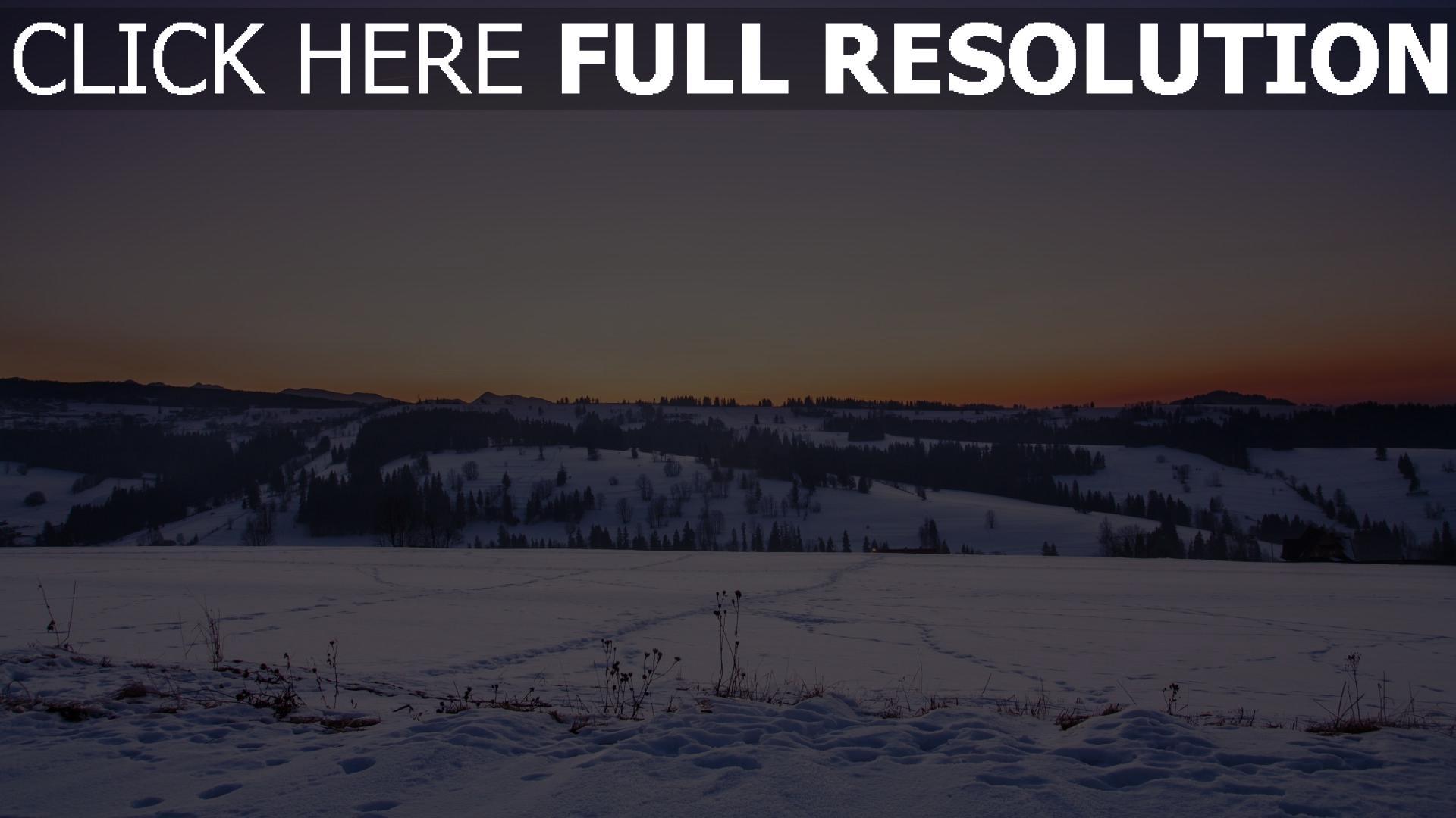 hd hintergrundbilder feld sonnenuntergang schnee winter 1920x1080