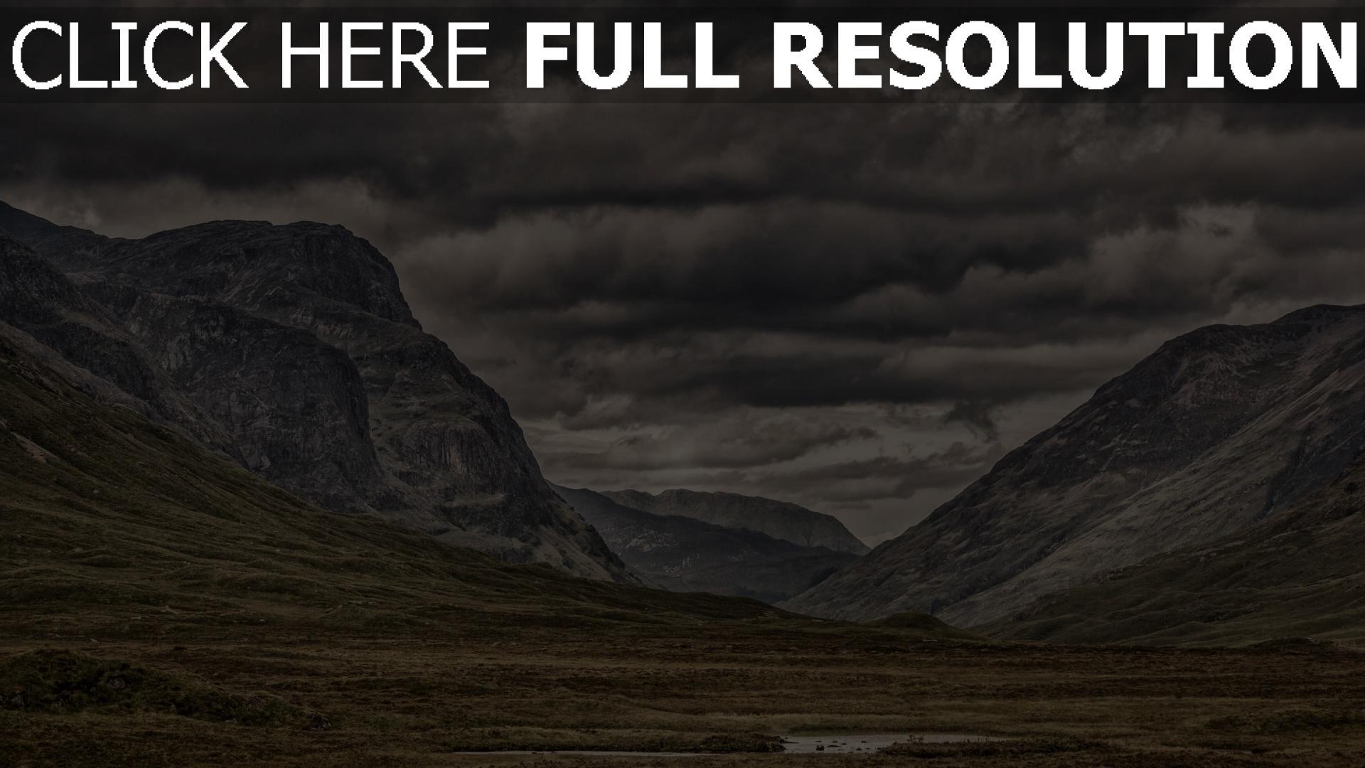 hd hintergrundbilder wolken berge bewölkt gras 1920x1080