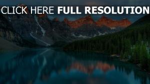 reflexion bäume see berge