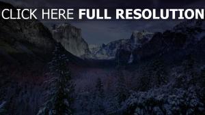 bäume berge himmel schnee