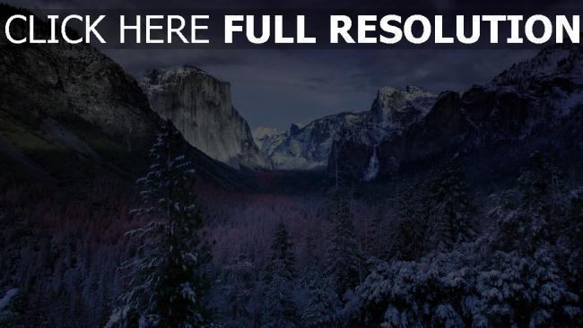 hd hintergrundbilder bäume berge himmel schnee