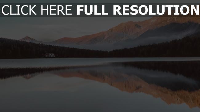 hd hintergrundbilder reflexion berge see haus