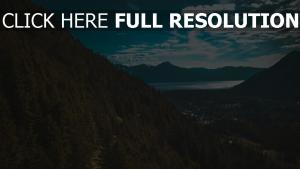 himmel see berge bäume
