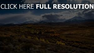 mountains, grass, clouds