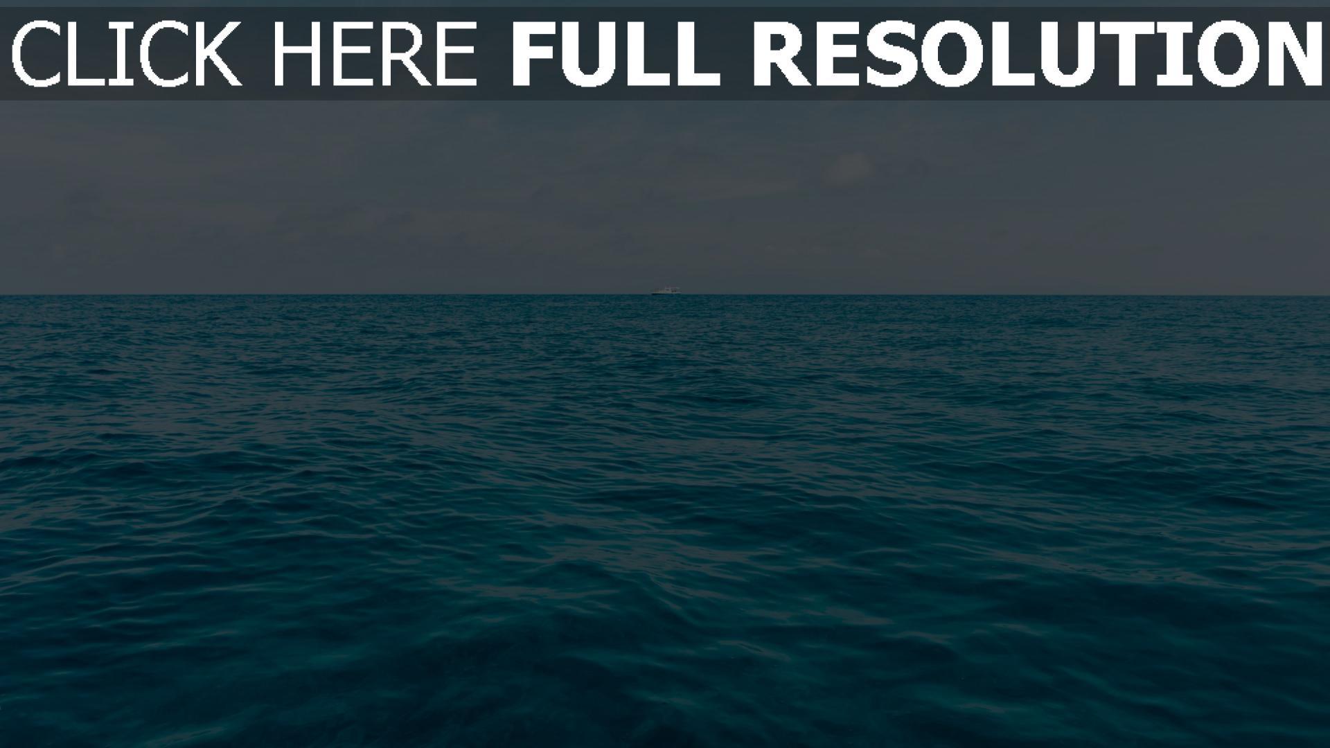 hd hintergrundbilder meer schiff horizont 1920x1080