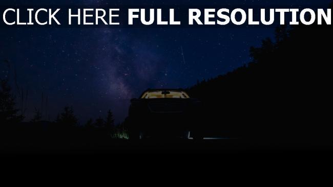 hd hintergrundbilder nacht sternenhimmel auto