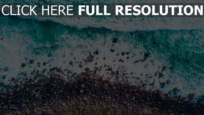 hd hintergrundbilder meer strand brandung steine