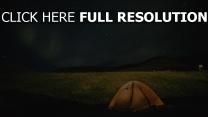 nacht sternenhimmel zelt