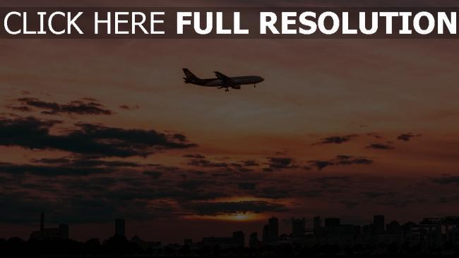 hd hintergrundbilder flugzeug wolken himmel flug sonnenuntergang