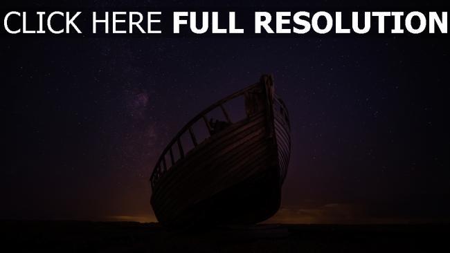 hd hintergrundbilder sternenhimmel nacht boot