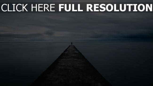hd hintergrundbilder mole mann pier meer einsamkeit