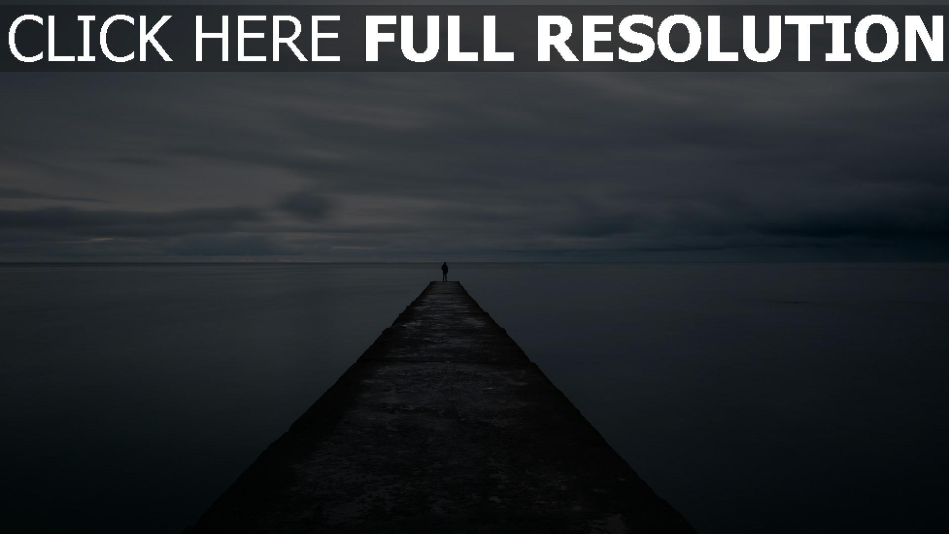 hd hintergrundbilder mole mann pier meer einsamkeit 1920x1080