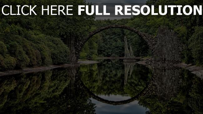 hd hintergrundbilder reflexion bäume bogen brücke fluss