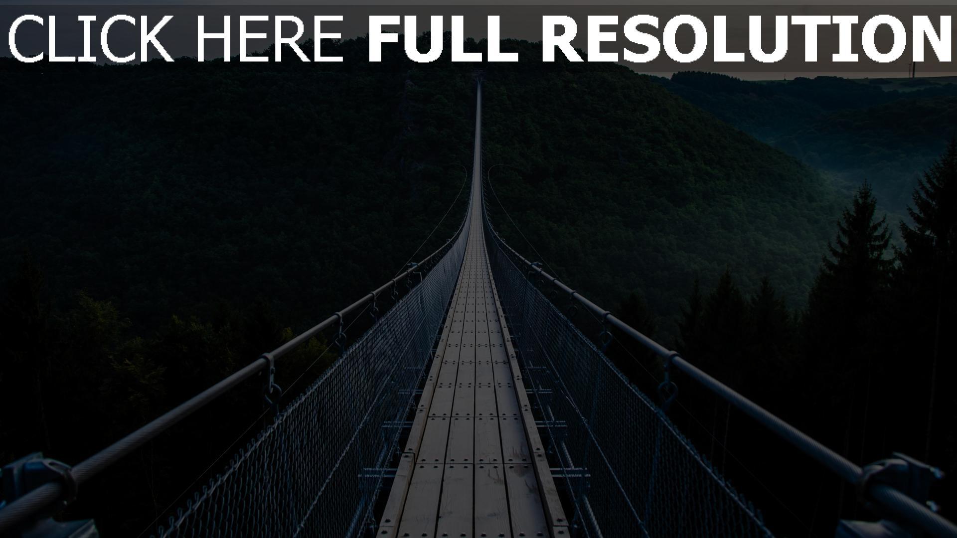 hd hintergrundbilder hängebrücke bäume brücke 1920x1080