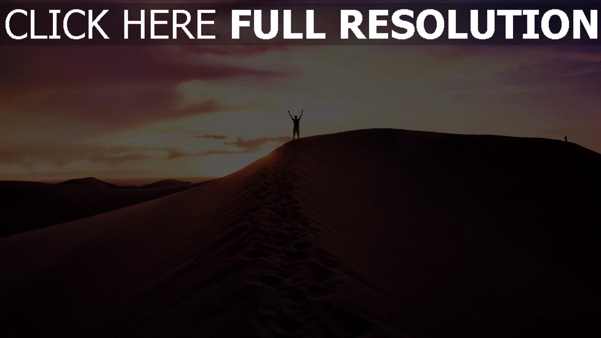 hd hintergrundbilder himmel abend sand wüste mann 1920x1080