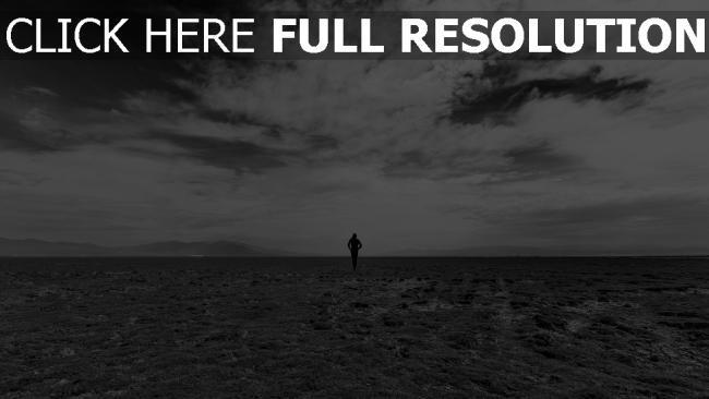 hd hintergrundbilder feld mann himmel schwarz-weiß