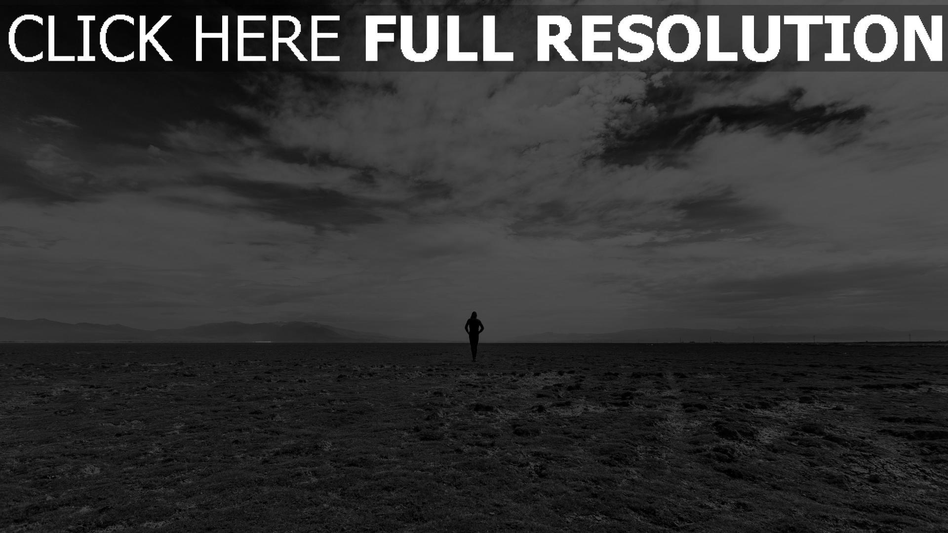 hd hintergrundbilder feld mann himmel schwarz-weiß 1920x1080