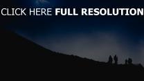 nacht bergsteiger berg silhouette touristen