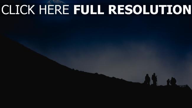 hd hintergrundbilder nacht bergsteiger berg silhouette touristen