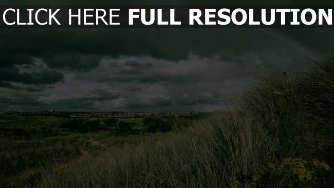 hd hintergrundbilder feld himmel regenbogen gras