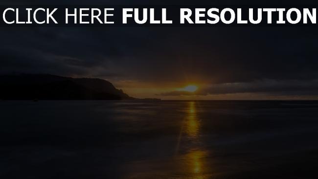 hd hintergrundbilder sonnenuntergang wolken horizont meer ufer
