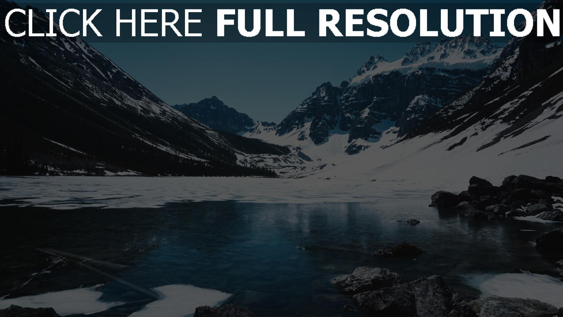 hd hintergrundbilder schnee eis berg see 1920x1080