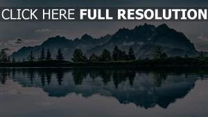 bäume reflexion see berge