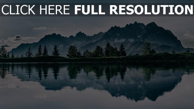 hd hintergrundbilder bäume reflexion see berge