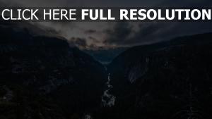 nebel berge flüsse wolken