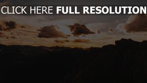 sonnenuntergang himmel berge wolken
