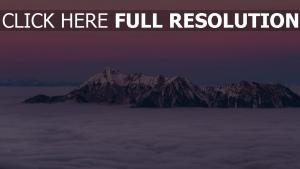 berge nebel spitzen wolken