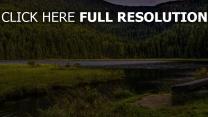 bäume berge gras fluss
