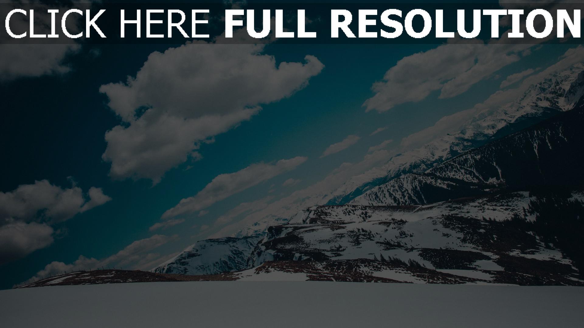 hd hintergrundbilder berge himmel schnee schneebedeckt 1920x1080