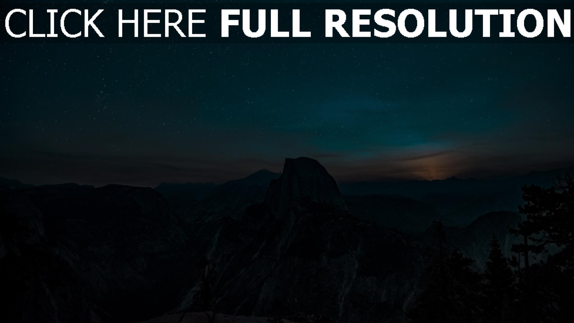 hd hintergrundbilder sternenhimmel berge hügel 1920x1080