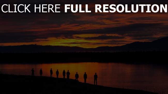 hd hintergrundbilder see menschen sonnenuntergang silhouetten berge