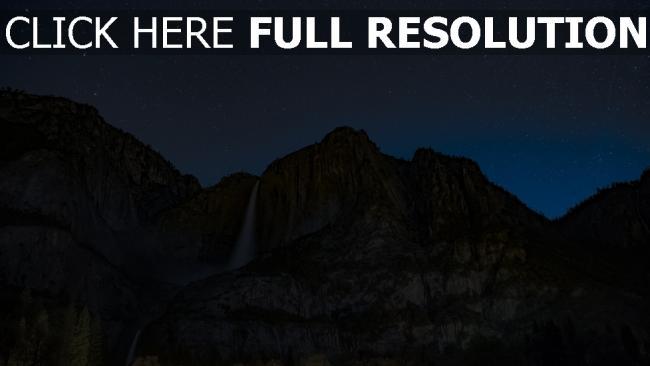hd hintergrundbilder wasserfall abgrund sternenhimmel