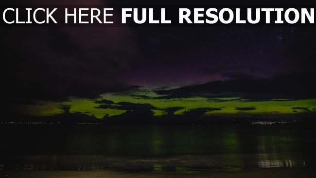hd hintergrundbilder ufer leuchten sonnenuntergang meer sternenhimmel