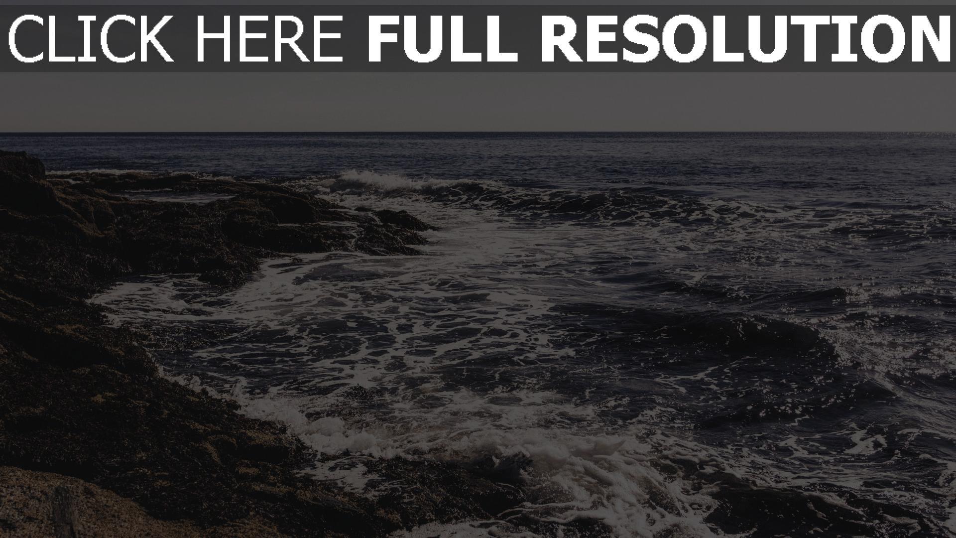 hd hintergrundbilder schaum meer strand himmel 1920x1080