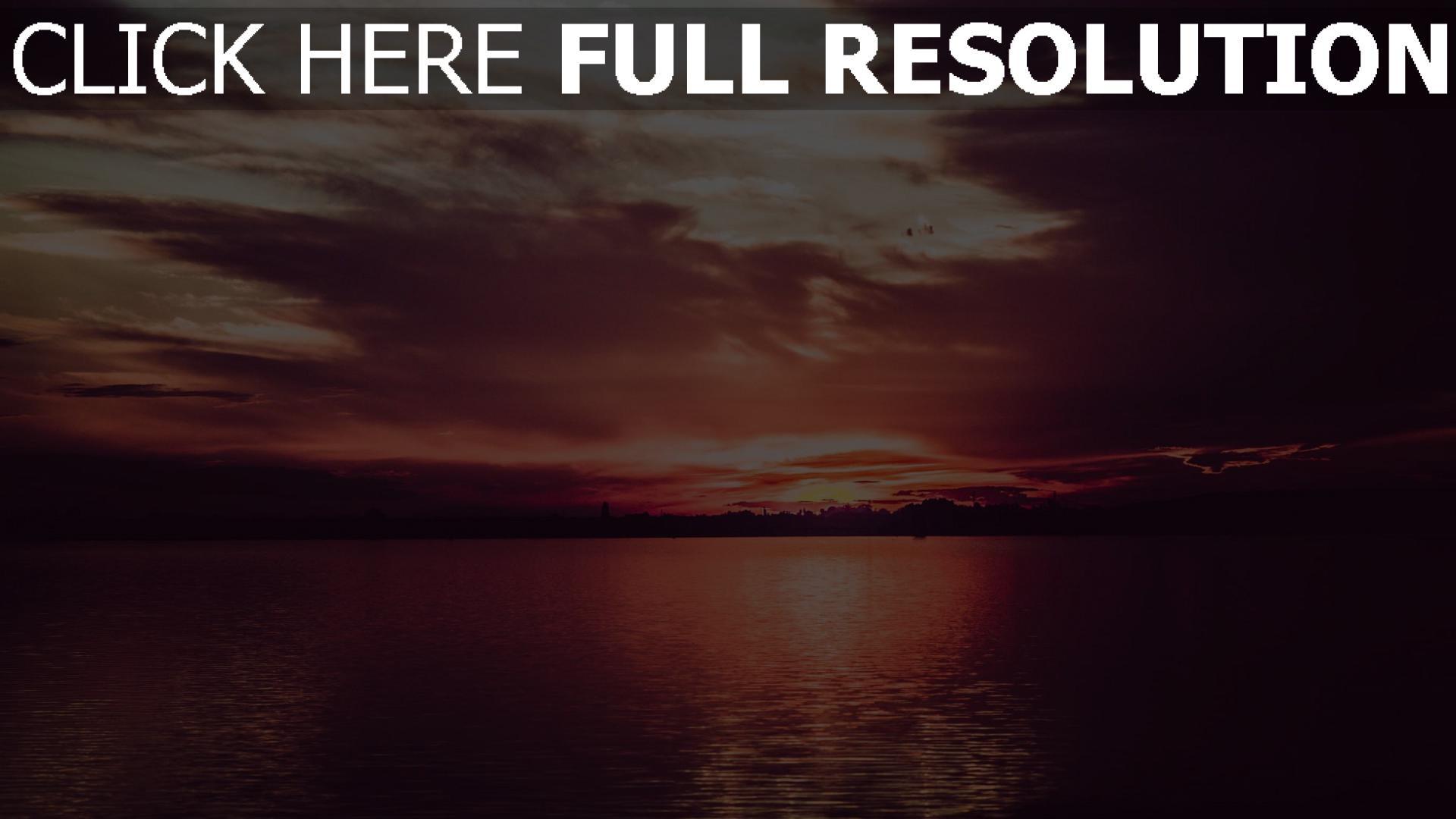 hd hintergrundbilder sonnenuntergang wolken fluss 1920x1080