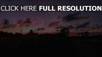 straße bäume himmel sonnenuntergang