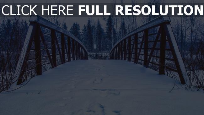 hd hintergrundbilder brücke spuren schnee winter