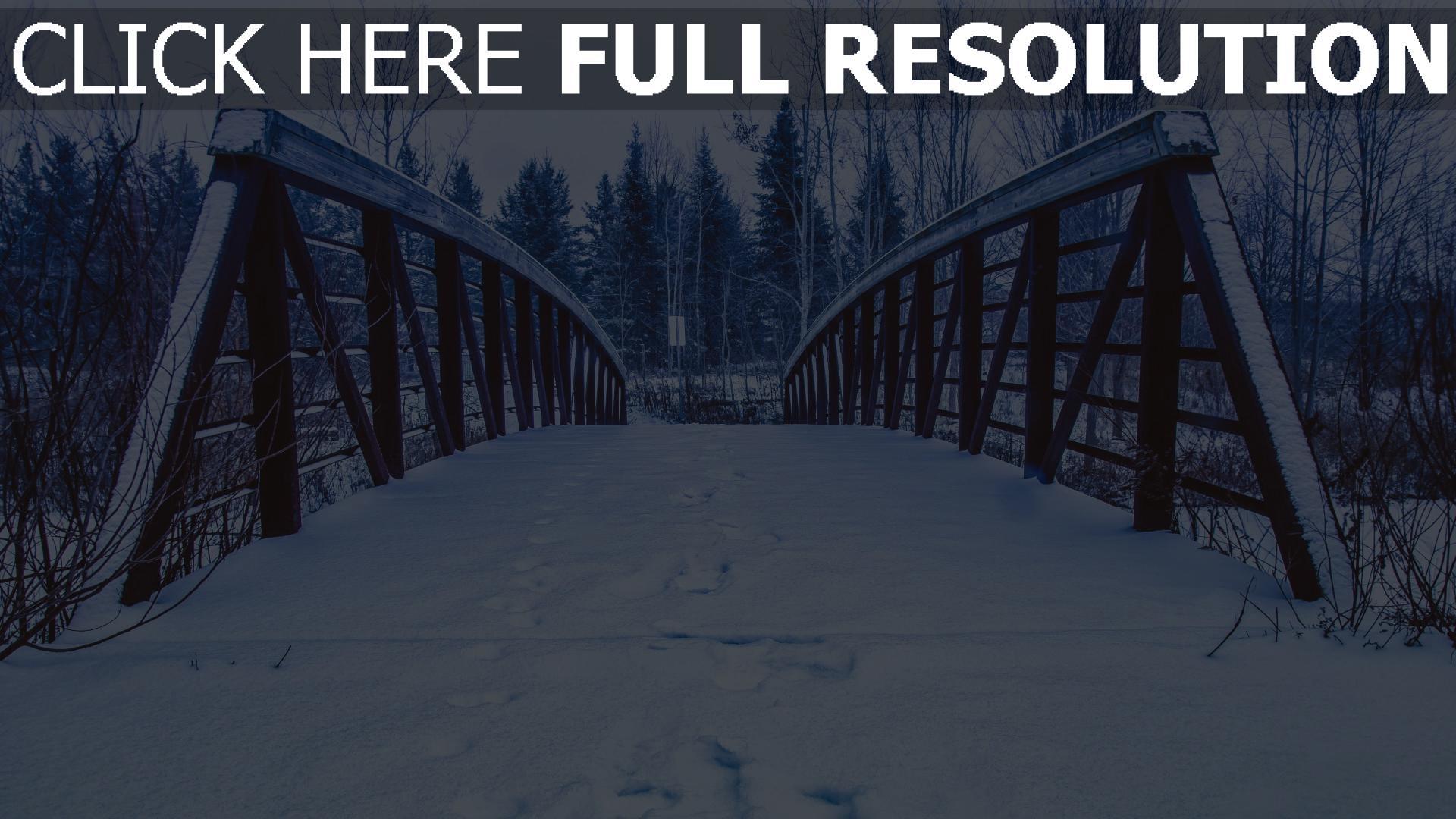 hd hintergrundbilder brücke spuren schnee winter 1920x1080