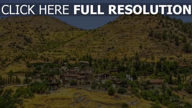 hd hintergrundbilder zypern gebäude dorf berge