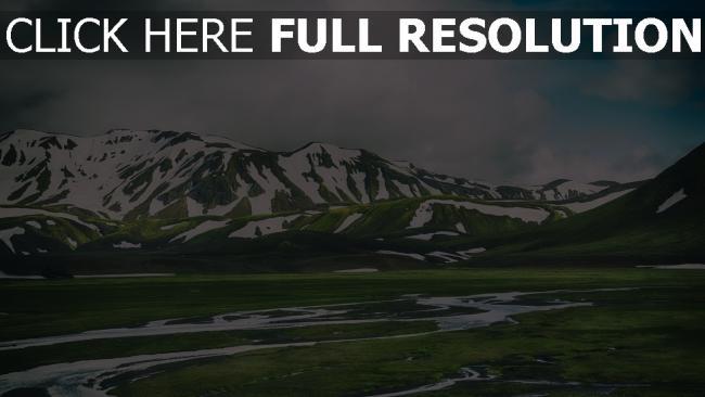 hd hintergrundbilder berge landmannalaugar island gras