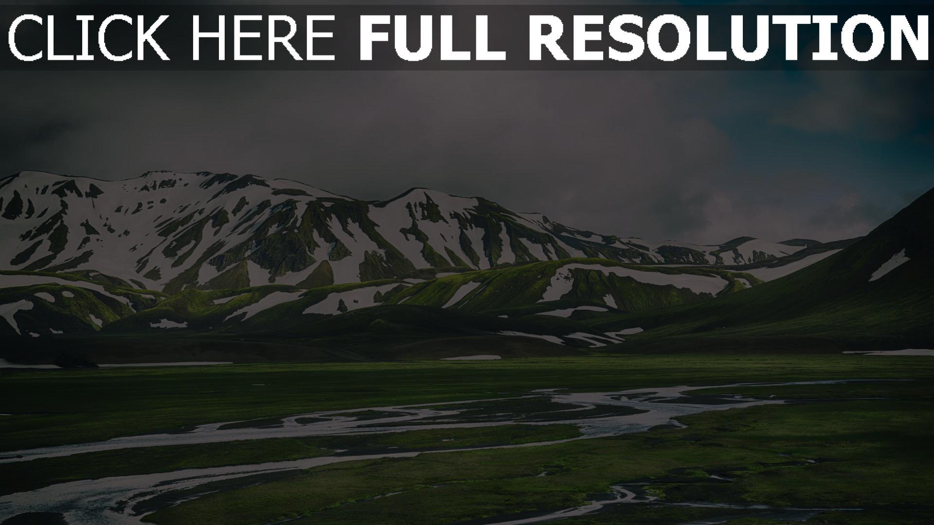 hd hintergrundbilder berge landmannalaugar island gras 1920x1080
