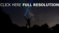 sterne nacht silhouette sternenhimmel lichtschwerter