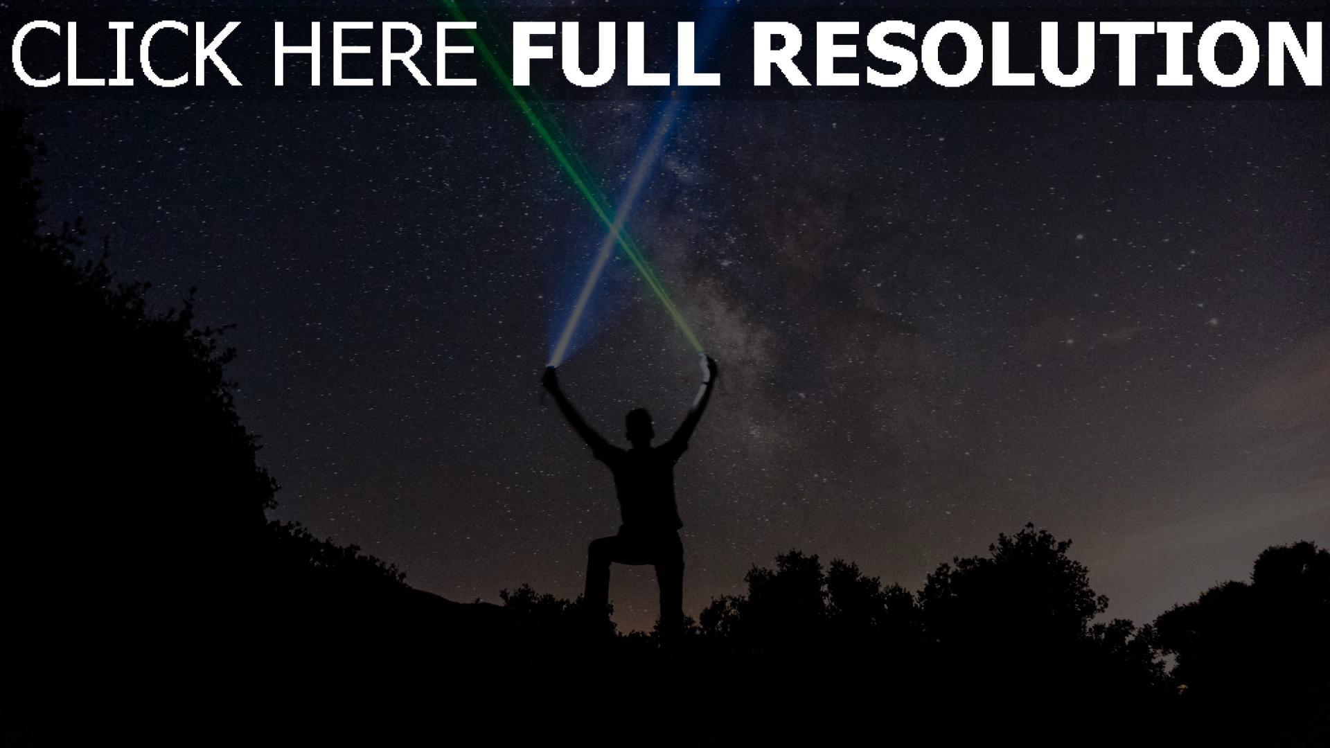hd hintergrundbilder sterne nacht silhouette sternenhimmel lichtschwerter 1920x1080