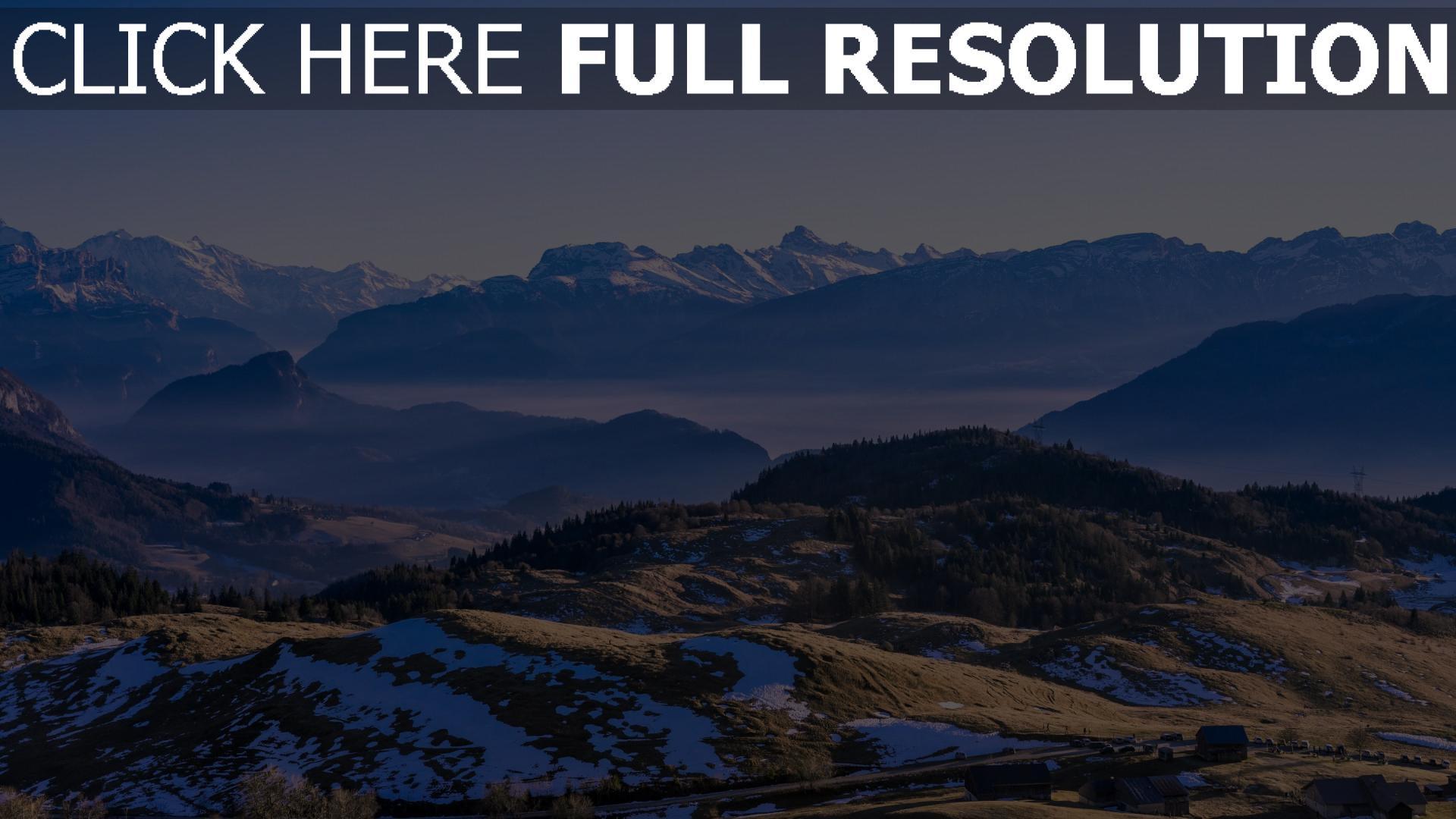 hd hintergrundbilder abstand schnee berge bäume 1920x1080